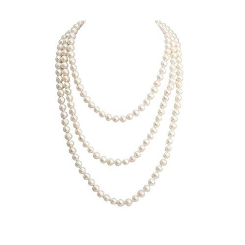 Hohe Qualität Pearl 7-8mm Rund weiß Endless Pearl Halskette, Strähnen Halskette-npw060 - Tin Cup-halskette
