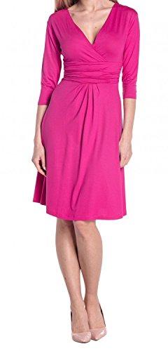 Glamour Empire Damen Kleid Tiefer V-Ausschnitt Sommerkleid Cocktailkleid 282 Fuchsie