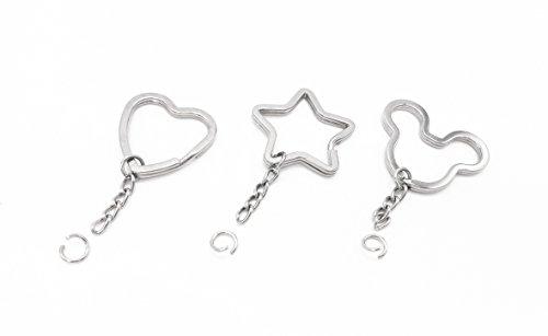 Llavero con cadena, llavero, 30 piezas, 3 estilos mixtos, forma de estrella, forma de oso y corazón