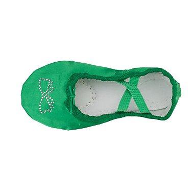 Wuyulunbi@ Kids' Balletto piatto di seta Indoor diamante acrilico tacco piatto verde Fuchsia US1.5 / EU33 / UK14 bambini piccoli