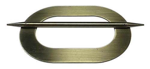 Tilldekor Raffspange OVAL, Metall, messig-antik, Gardinenspange mit Befestigungsstab