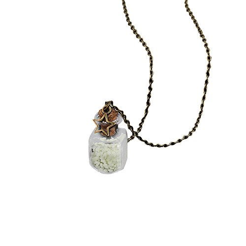 Drifting Bottle Beach Luminous Dream Sky Five-pointed Star Glass Bottle Necklace Kreise Design Halskette mit Gravur, Kristall von Schmuck für Frauen