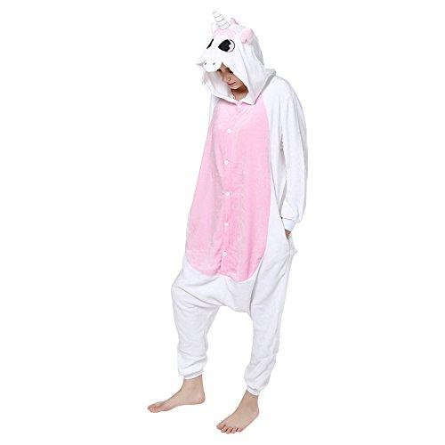 Lisli Erwachsene Karton Kostüm Tier Einteiler Onesie Anzug Jumpsuit Pyjama Schlafanzug Unisex, Einhorn, Für 150-190cm