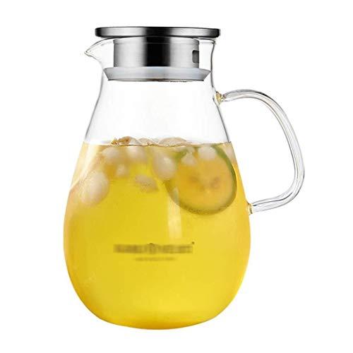 Glass Pitcher 2 Liter, EIS-Teekanne, hitzebeständig, sehr geeignet für Eistee, Wein, Kaffee, Milch, Saft, Flasche, um der Familie Geschenke zu Machen NA