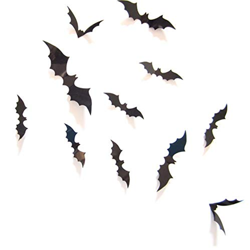 BVTYGH 12 Pieces 3D Spooky Bats Wall Sticker Halloween Decoration Removable PVC Wall Stickers Decal Home Halloween Party Supplies