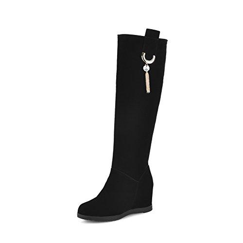 AalarDom Damen Blend-Materialien Rund Zehe Hoher Absatz Ziehen auf Stiefel, Schwarz, 37