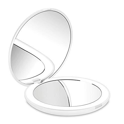 Deweisn Compacto Espejo de Viaje, Espejo de Maquillaje Espejo de Bolsillo para Maquillaje con Luz Aumento1X...