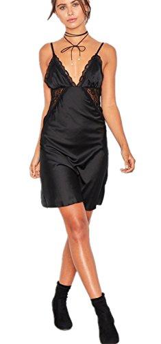 Sexy Sans Manche à Bretelles Satin Encolure Profonde Col En V à Fleurs Empiècements en Dentelle Mini Courte A Line Une Ligne A-Ligne Patineuse Patineur Évasée Slip Dress Robe Noir Noir