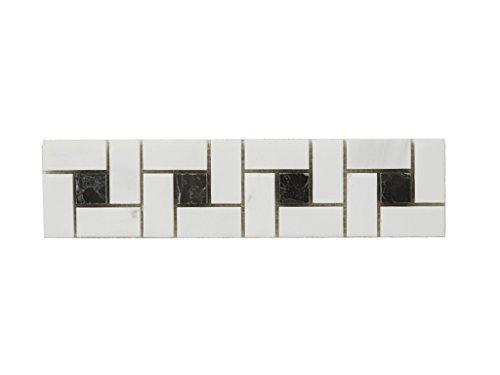 Perlmutt Waschbecken (Mosaik-Marmor-Naturstein-Bordüre aus Mosaiksteinen als Wandverzierung für Küche und Badezimmer | BORDÜRE NIDA (30,5cm x 7,5cm x 1cm))