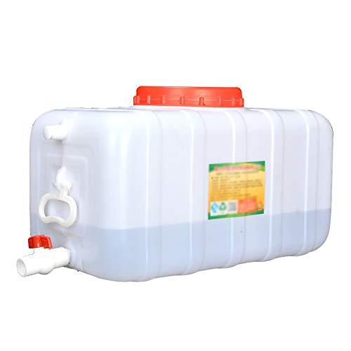 JB-Shuixiang Depósito De Agua con Grifo, Recipiente De Almacenamiento De Agua Horizontal De Plástico Grueso, Cubo De Almacenamiento Rectangular con Tapa, Antienvejecimiento, Blanco (Size : 70L)