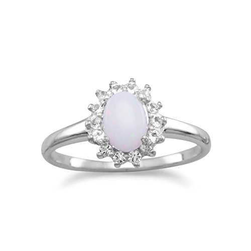 rhod. P. Sterling Silber Ring 5mm x 7mm Australian Oval Opal Weiß Topaz alle Around–Größe T 1/2