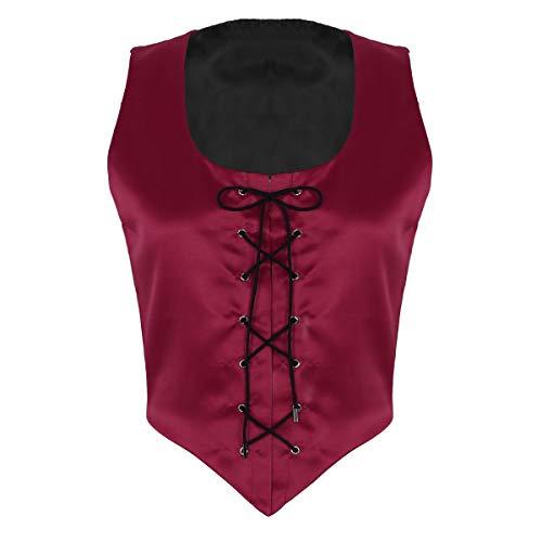 für Mittelalterkleid Korsagekleid Steampunk Gothic Kostüm Mistress Rotkäppchen Hexenkostüm Teufelchen Halloween Cosplay Verkleidung Weinrot L(Brust 95cm) ()