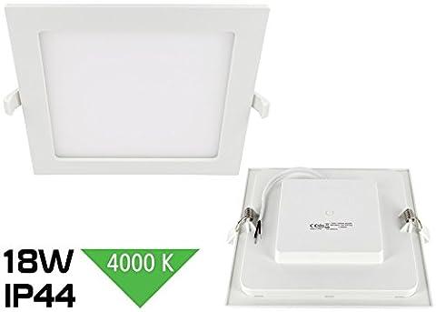 LED 18W Slim Einbaustrahler IP44 230V eckig - 1450lm - 220x220mm - 32mm flach - 110° - tagesweiß (4000