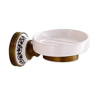Eeayyygch Badezimmer-Zubehör WC-Badezimmer Seife Halter Messing Fashion Soap Basket Kupfer Seifenspender Keramik Hardware Zubehör (Farbe : -, Größe : -)