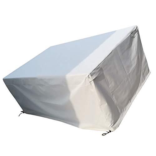 Gartenmöbel-Set Cover Patio Sofa Tisch und Stuhlabdeckung, langlebig und wasserdicht Oxford Stoff rechteckige Abdeckung, groß, grauweiß (größe : 140x140x90cm) ()