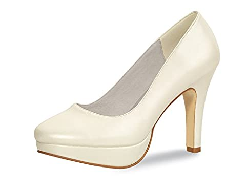Brautschuhe/rainbow-sling escarpins// modèle isabella joline cuir, 8 cm - Blanc - Ivoire, 41 EU / 8 UK EU