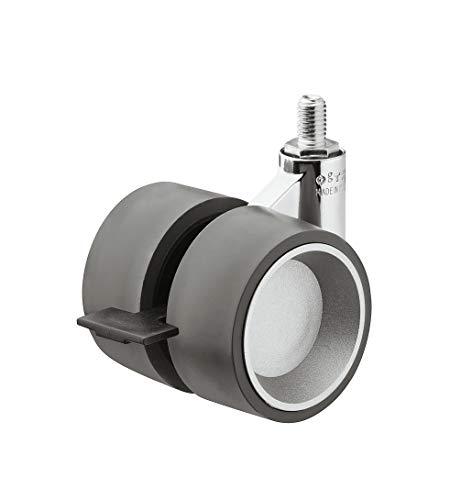 Gedotec Design Doppel-Möbelrolle Lenkrollen mit Bremse aus Kunststoff GEKO mit Gewinde-Stift M10 x 15 mm   Rollen-Ø 60 mm   Tragkraft 80 kg   Transportrollen mit Bauhöhe 80 mm   1 Stück