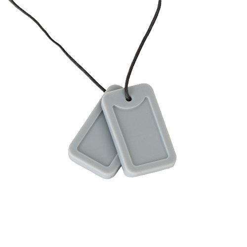 Chewigem Sensory Chew Dog Tag Necklace -Fidget Toy For Grinding – Autism – Grey