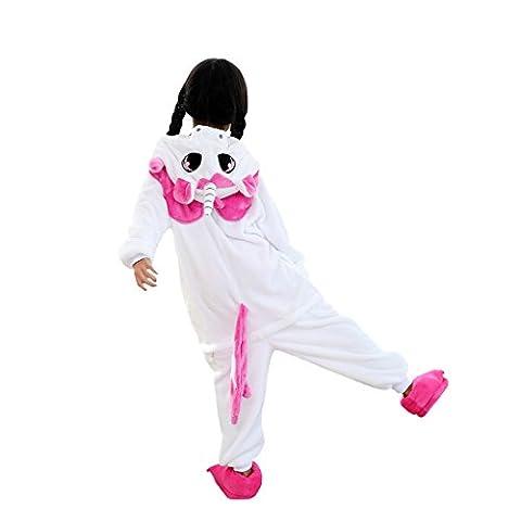 DarkCom Kinder Kigurumi Strampelanzug Pyjamas Tier Cosplay Kostüme Cartoon Jumpsuit Nachtwäsche Rosa (Rosa Einhorn-kostüm)