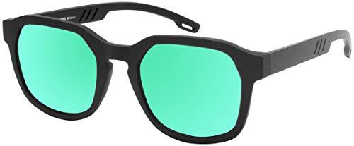 La Optica B.L.M. UV 400 CAT 3 Unisex Damen Herren Sonnenbrille Eckig Nerd - Einzelpack Matt Schwarz (Gläser: Grün verspiegelt)