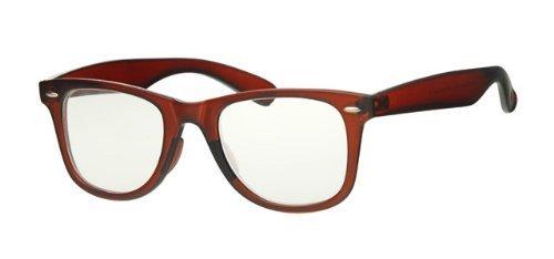 Braun Rahmen Wayfarer Gläser, Clear Lens, gratis gelb Hals Kordel, vollständiger UV 400Schutz