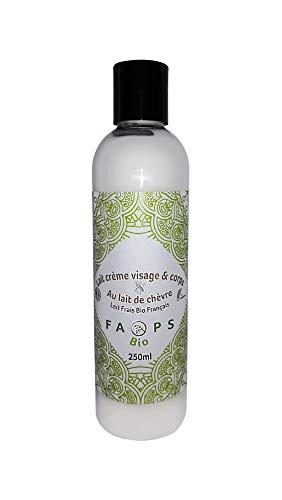 Lait-Crème Visage-Corps hydratant 20% Lait de Chèvre Frais Bio Français.Produit 100% Naturel,Végétal.Formulé sans Sulfates,Silicones,Parabens,EDTA,Colorants,OGM,huiles minérales,huile de palme 250ML