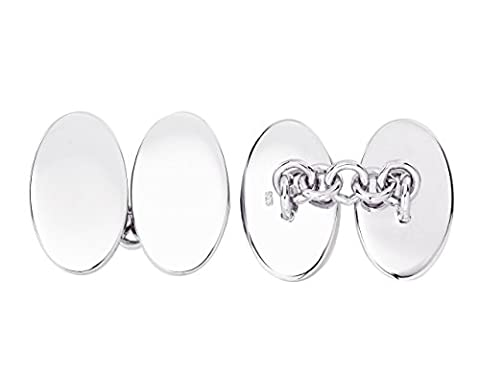 Solid Sterling Silver Double Oval Chain Link Cufflinks with Gift Box