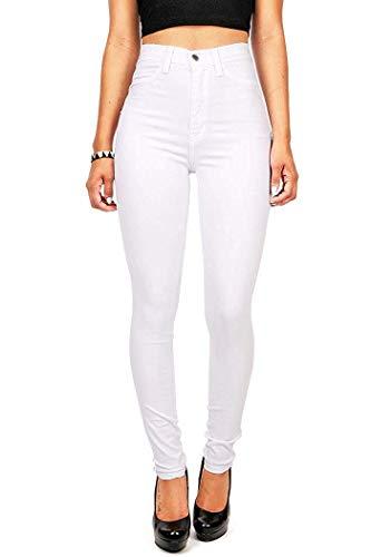 Hooleeger Damen Stretch High Waist Jeans Regular Fit Basic Jeanshose (M, Weiß) -