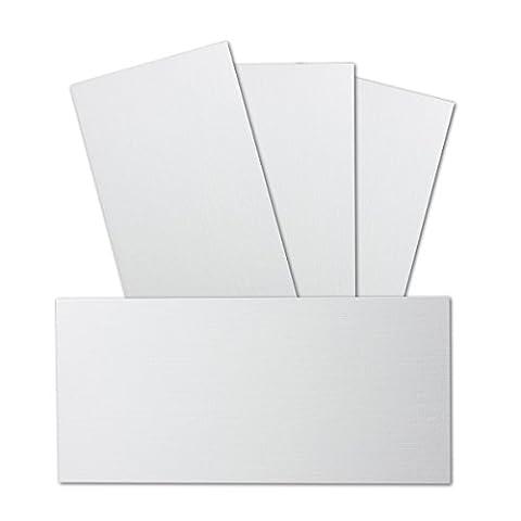 50 Stück DIN Lang Karton mit Leinenstruktur   Farbe: Weiss   99 x 210 mm - 246 g/m²   Einzelkarte ohne Falz - Ideal zum Basteln, Scrapbooking, Grußkarte   GUSTAV NEUSER