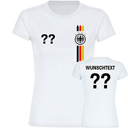 Multifanshop T-Shirt Deutschland Adler Trikot Bunte Streifen mit Wunschtext & Wunschzahl Damen weiß Gr. S-2XL - Fanshirt Fanartikel Fußball EM WM Germany,Größe:M
