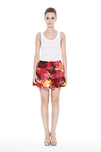Mujeres-Hawaiian-Three-Tiered-arrugado-mini-falda-en-Puesta-de-sol-roja-XL