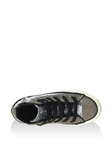 Converse - All Star Hi Side Zip Leat/Sued, Sneaker alte Unisex - Bambini Silver/Charcoal/Shiny