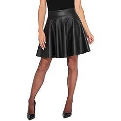 KRISP Falda Corta Mujer Negra Vuelo Fiesta Elegante Boda Minifalda Plisada Ceremonia Cóctel Talla Grande, (Negro, 36 EU (08 UK)), 3082-BLK-08