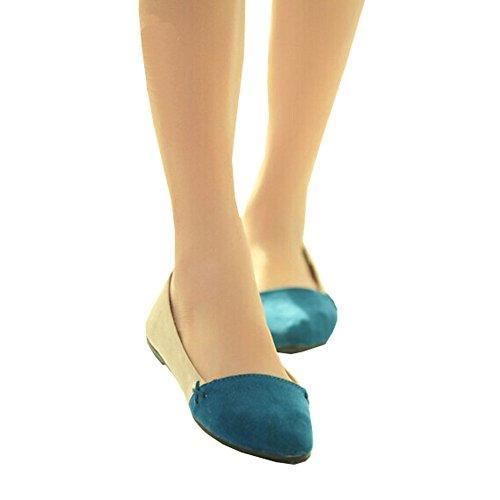 Neuheit Frauen Wohnungen 2014 Frühling und Sommer flache Ferse Schuhe Casual Comfort Wohnungen für Frauen, Blau, Rosa Farbe Blau