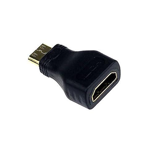 Byste Mini HDMI type C mâle vers Type A connecteur adaptateur femelle pour 1080p 3d TV