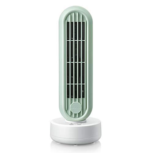DS Mini-Tischventilatoren Leise,Oszillierend Turmventilator Standventilator Klimaanlage Tower Fan,2 Geschwindigkeiten,USB Aufladen, Für Zu Desktop Hause Oder Das Büro Schule(7,5 W, 32 cm, Grün)