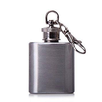 TOOGOO(R) 1 Unze beweglicher Edelstahl-Flachmann Schluesselanhaenger Silber