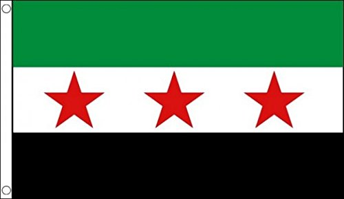 5 ft x 3 ft (150 x 90 cm) Syrien Syrische Rebel 3 Star NATIONAL Rat 100% Polyester Material Flagge Banner Ideal für Pub Club Schule Festival Business Party Dekoration -
