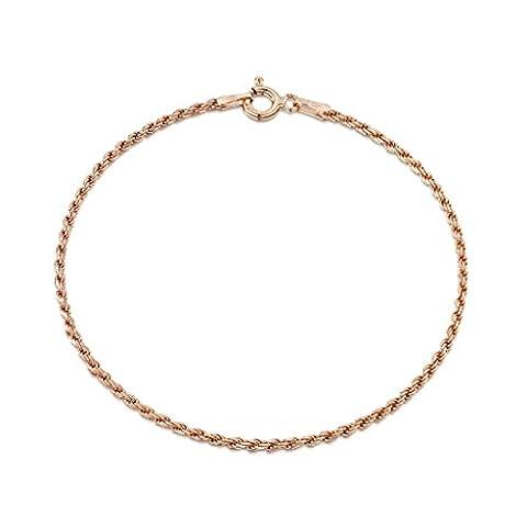 Amberta® Bijoux - Bracelet - Chaîne Argent 925/1000 - Plaqué Or Rosé 14K - Maille Corde - Largeur 1.5 mm - Longueur 18 19 cm (18cm)