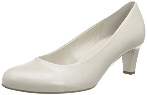 Off-weiß Leder Schuhe (Gabor Shoes Damen Basic Pumps, Weiß (Off-White+Absatz 80), 40 EU)