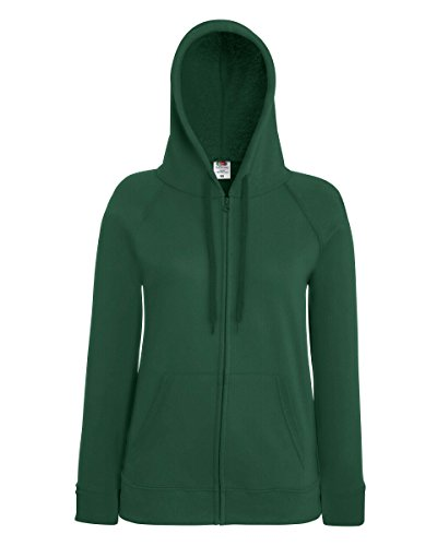 Fruit Of The Loom Lady-Fit Damen Kapuzenjacke / Sweatshirt-Jacke mit Kapuze Grün - Bottle Green