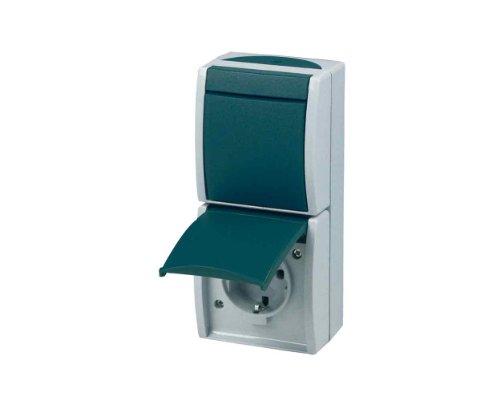 Preisvergleich Produktbild REV Ritter 0510202777 Ocean AP Kombi Aus-/Wechselschalter und Steckdose, grau/blau