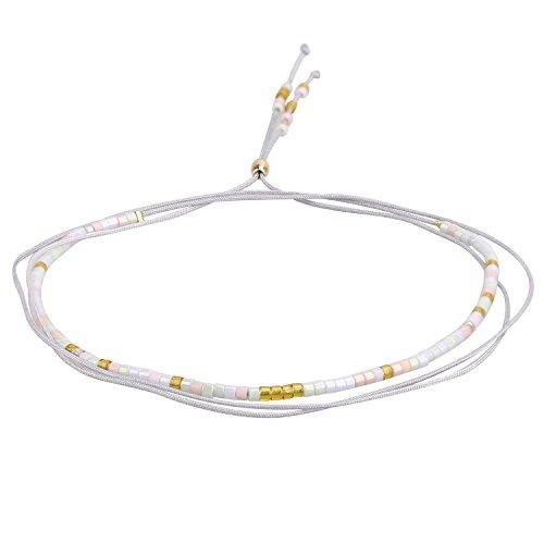 KELITCH Bohemian Armband Rocailles Perlen Handmade Mehrfarbig Zart Schnur Freundschaftsarmbänder Halskette - Weiß