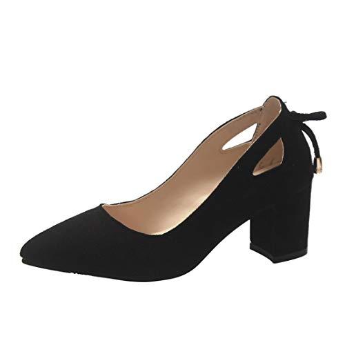 UFACE Damen Pointed Wildleder Chunky mit großen Einzelnen Schuhe Flachen Mund Frauen Schuhe Frauen Sandale Spitz Knöchel High Heels Party Jobs Flock Einzelne Schuhe(Schwarz,42 EU)