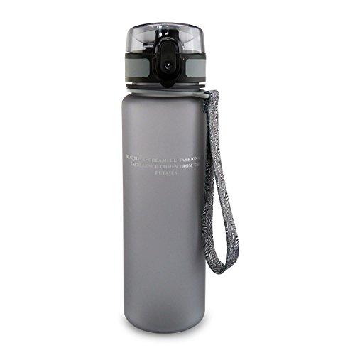 smardy Tritan Wasserflasche Trinkflasche grau - 500ml - aus BPA-freiem Kunststoff - einfach zu öffnen - umweltfreundlich (Handschlaufe Flasche Wasser)