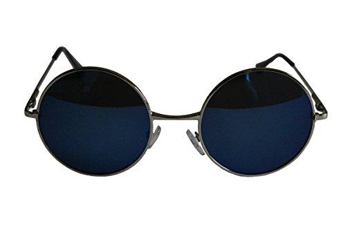 Schöne Unisex Aktuelle Design-Hippie-Stil Brillen Runde Sonnenbrillen Anti-Reflektierende Linse (Blauer Spiegel mit Silber Rahmen)