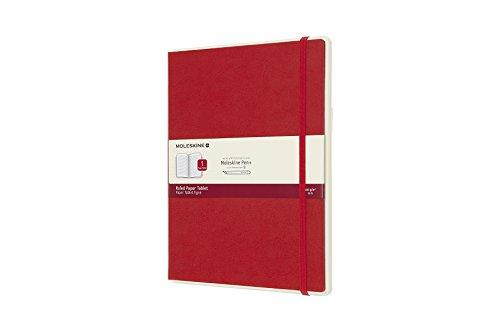 Moleskine - Cuaderno Digital con Páginas Rayadas y Tapa Dura, Apto para Uso con Bolígrafo Moleskine+, Tamaño Extra Grande 19 x 25 cm, Color Rojo Escarlata