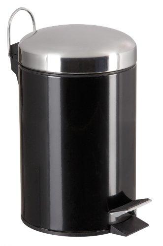 SANWOOD 1007325 Poubelle de Salle de Bain 3 L avec poignée, métal, Noir, 22 x 17 x 24 cm