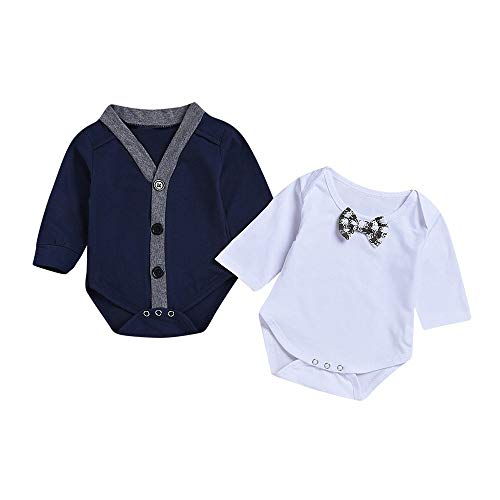 JUSTSELL, Baby Boys' One Piece Long Sleeve Gentleman Coat Romper + Bowknot Jumpsuit Set Outfit