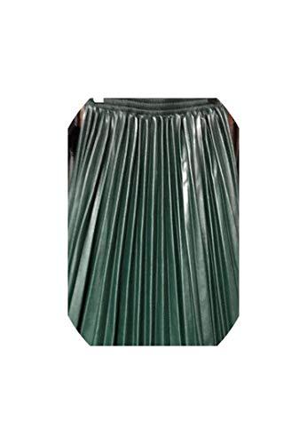 Anochecer Fort PU acordeón Plisado de la Falda Falda de Talle Alto Cuero Disponible,Verde,un tamaño